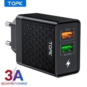 Image 1 - TOPK B254Q Quick Charge 3,0 Dual USB зарядное устройство адаптер EU Travel Wall QC3.0 быстрое зарядное устройство для телефона для iPhone Samsung Xiaomi