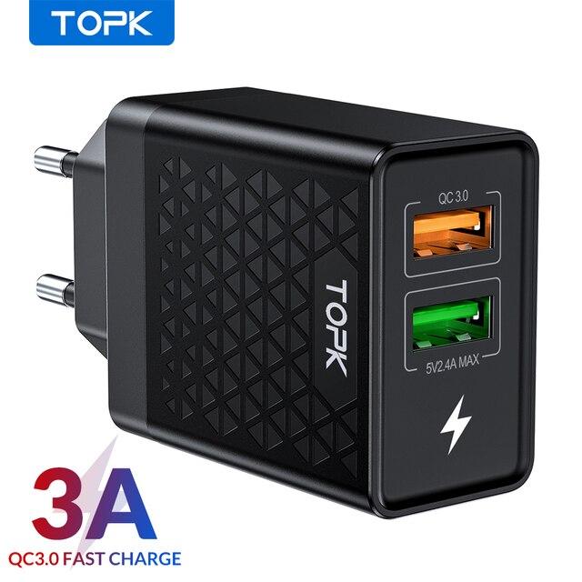 TOPK B254Q Quick Charge 3,0 Dual USB зарядное устройство адаптер EU Travel Wall QC3.0 быстрое зарядное устройство для телефона для iPhone Samsung Xiaomi