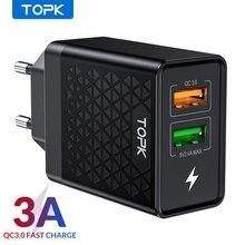 TOPK cargador USB Dual B254Q de carga rápida, adaptador de pared de viaje para la UE, cargador rápido de teléfono para iPhone, Samsung y Xiaomi, 3,0