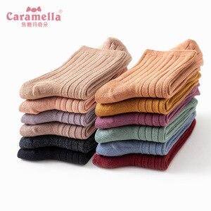 Image 3 - משלוח חינם 12 זוגות\קופסא Caramella גרבי חורף אופנה מוצק צבע נשי ארוך מצרך כותנה כפול מחט גרבי 51612