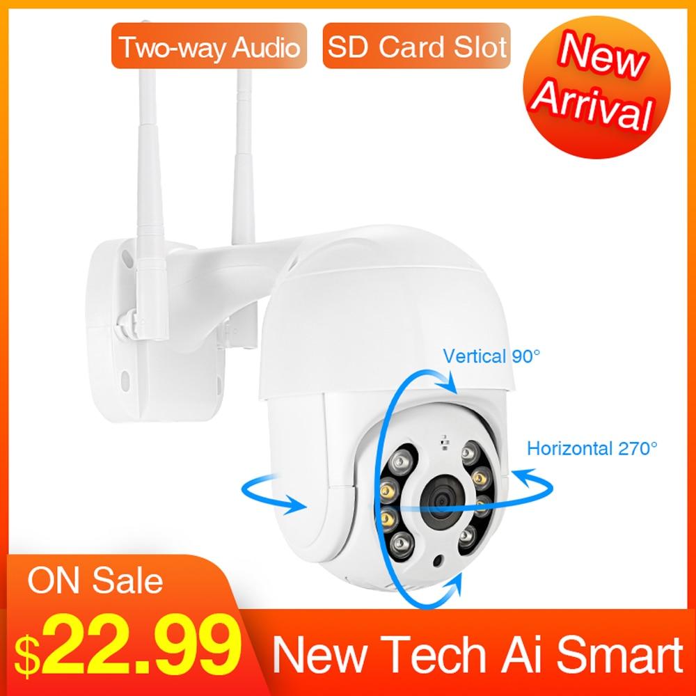 Techege 1080P Wifi Camera Outdoor 2MP CCTV Home Security IP Camera Wireless Speed Dome Camera Siren Light Ai 2-ways Audio Camera