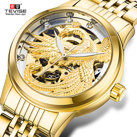 TEVISE Luxury Brand Fashion Phoenix Women Watches Luminous Clock Womens Steel Gold Bracelet Automatic Mechanical Ladies Watch Lahore
