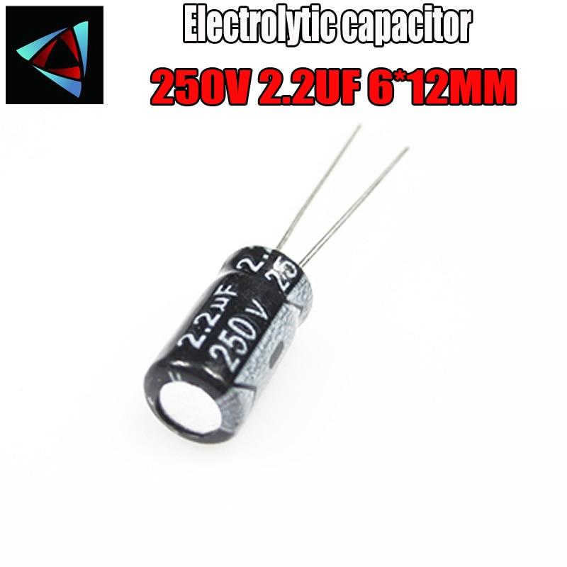 20PCS Higt Quality 250V 2.2UF 6*12mm 2.2UF 250V 6*12 Electrolytic Capacitor