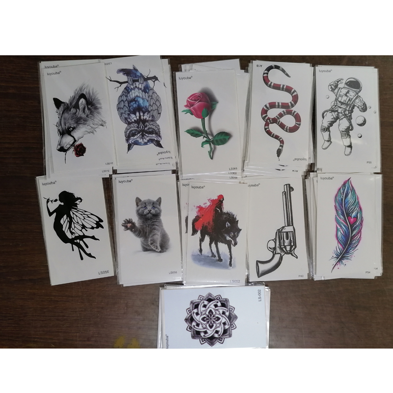 Rose / Owl /Feather/Cat  Waterproof Temporary Tattoos Sticker Temporaire Tatouage Henna Tattoo Sleeve Tatoo Fake Tattoo Kids
