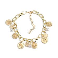 Retro exaggerated necklace tassel short queen head coin necklaces