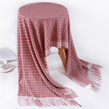 Women Knit Cashmere Scarf Tassel Plaid Winter Pashmina Scarves for Ladies Warm Shawls Wraps Lattice Stoles Foulard Hijab