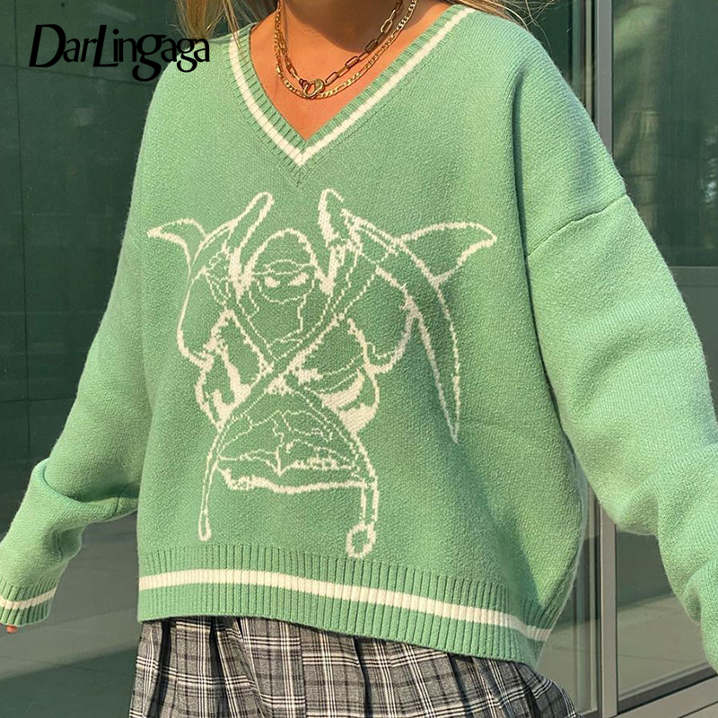 Darlingaga Fashion Loose Stripe Printed Knitted Sweater V Neck Autumn Winter Pullover Preppy Style Jumpers y2k Sweater for Women