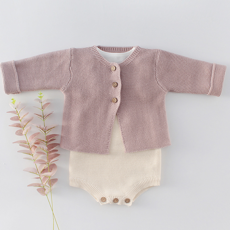 2020 New Infant Baby Boys Girls Knitted Romper Suit Newborn Baby Girl Cardigan Sweater Cotton Overalls Baby Girls Jumpsuit Set