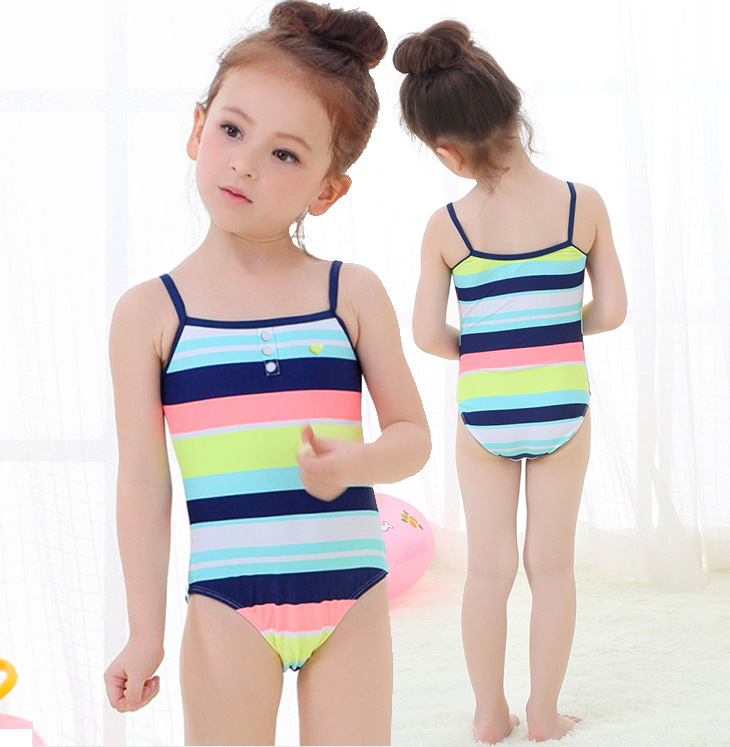 Hot Selling KID'S Swimwear Baby Small Children Multi-color Stripe Button One-piece European And American Minimalist One-piece Sw