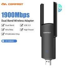 Adaptateur Wi-fi double bande 1900 et 2.4 Ghz, 5.8 mb/s, haute puissance, avec antenne 5Ghz, carte réseau Ethernet, pour ordinateur de bureau et portable