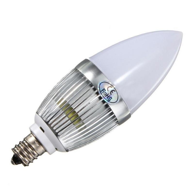 E12 3W LED Candle Lamp Candelabra Candlestick RGB Spot Light Bulb + Remote Silver   - title=