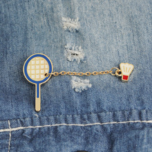 New fashion accessories cartoon badminton brooch enamel needle mini badge clothes bag FXM
