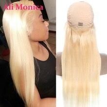 Perruque Lace Front Wig naturelle Blonde 13x4, cheveux humains, pre-plucked, densité 613, 150%