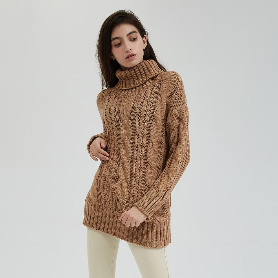 Wixra New Chunky Turtleneck Sweater Women Autumn Winter Solid Hollow Out Knitted Pullover Jumpers Loose Tops Pullovers Aliexpress