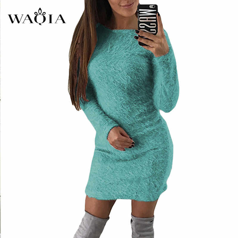 2019 женское вязаное платье осень зима длинный рукав сплошной плюшевый свитер платье женские вечерние облегающее Сексуальное мини Бандажное трикотажное платье