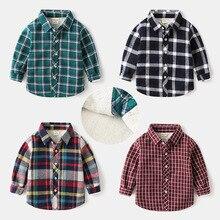 Детская Вельветовая рубашка в Корейском стиле; плотные теплые классические повседневные топы с длинными рукавами для мальчиков; детская рубашка в клетку