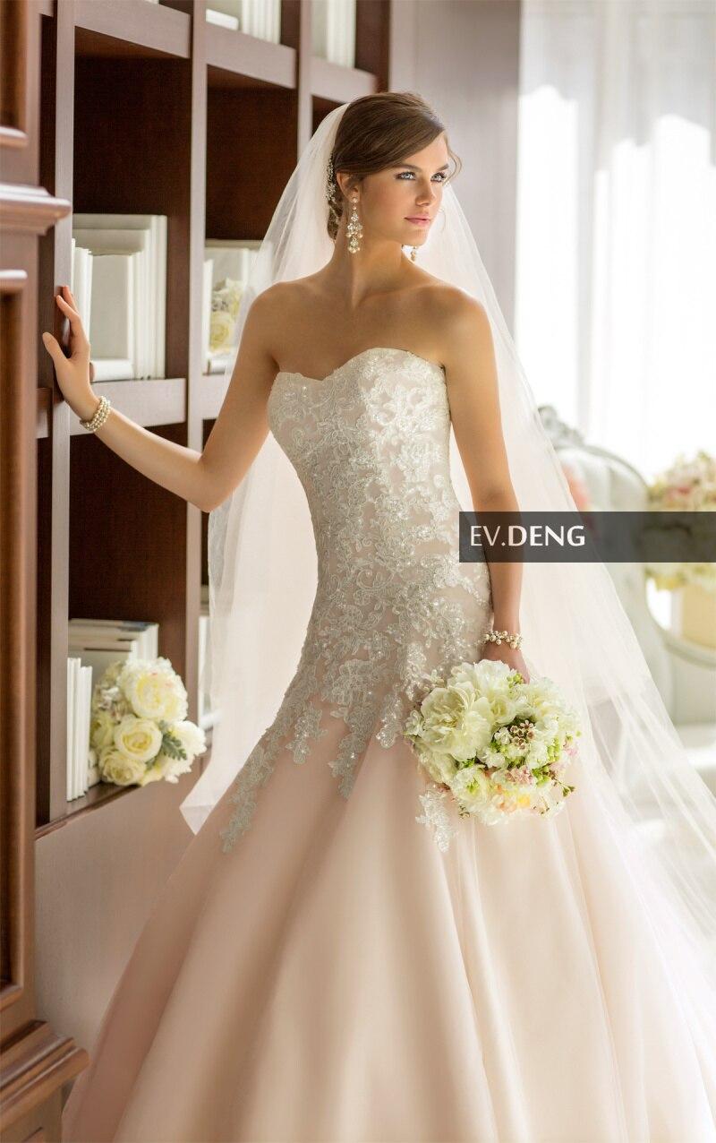 Купить новинка сексуальное свадебное платье с аппликацией длинное трапециевидное