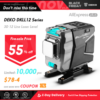 DEKO DC Series 12 Lines 3D Green Laser Level Horizontal And Vertical Cross Lines With Auto Self-Leveling, Indoors and Outdoors 1