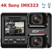 4K 2160P WIFI GPS Logger Dual Lens Car DVR Novatek 96663 Chip Sony IMX323 Sensor Night Vision Dual Camera Dash Cam Recorder D30H