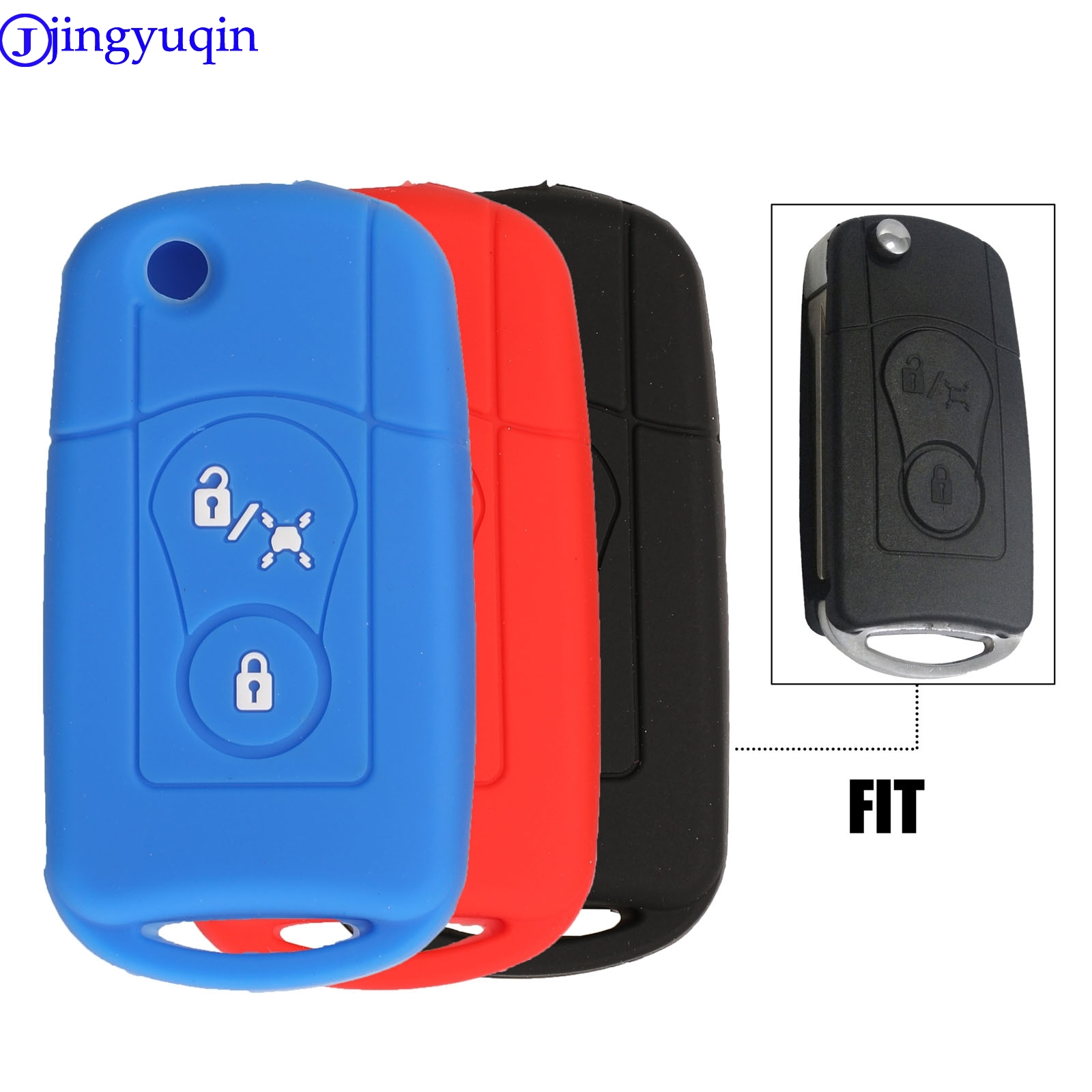Jingyuqin 2B Remote Car Key Silicone Cover Case For Ssangyong Actyon SUV Kyron Holder Stylingb Filding Key