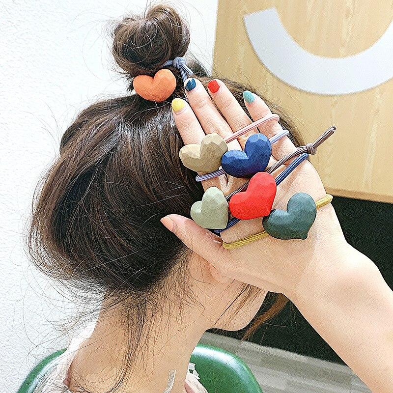Korean Modad Head Bands Bracelet For Women Fashion Heart Shape Hair Ties Girl Hair Accessories