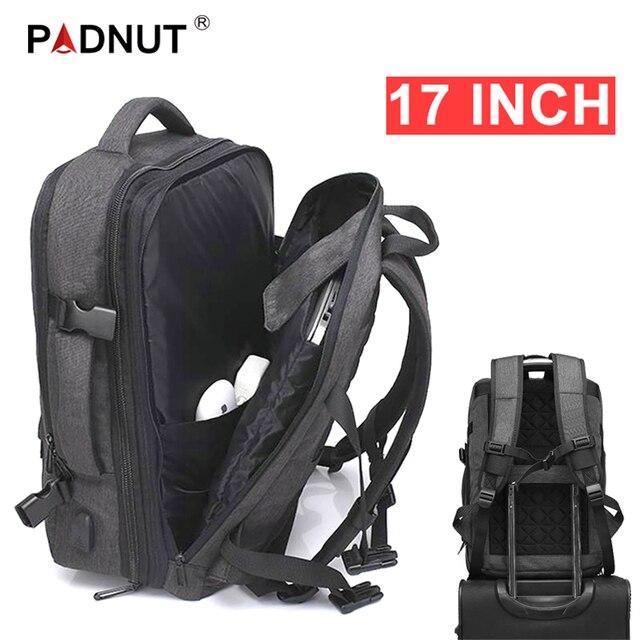 Anti Theft กระเป๋าเป้สะพายหลัง 17 นิ้วแล็ปท็อปกระเป๋าเป้สะพายหลังกันน้ำขนาดใหญ่ความจุ Back Pack ผู้หญิงชายสีดำกระเป๋าเป้สะพายหลัง USB Charger