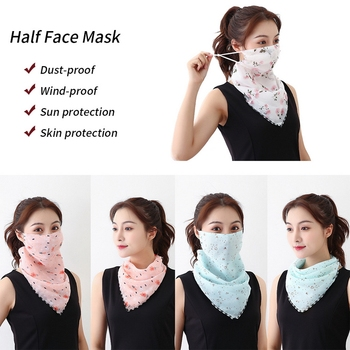 1PC Sun Prevent Chiffon Ear Hanger Half Face Mask Breathable Triangle Bandana Neck Cover Scarf Outdoor Hiking Cycling Accessory 1