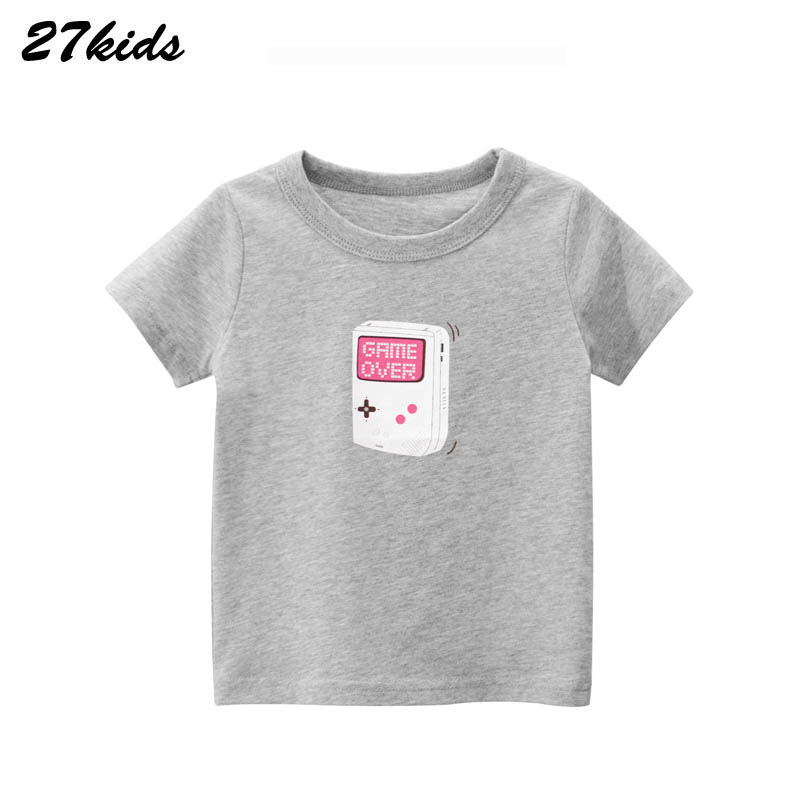 27kids Cartoon Gameboy Pattern  T Shirt For 2-9 Years Summer Baby Boys And Girls Kids Tops Children Cartoon T Shirt Clothes