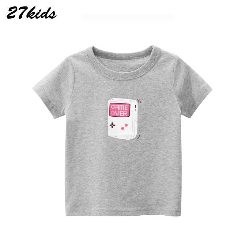 27kids Cartoon Gameboy Pattern  T Shirt For 2-9 Years Summer Baby Boys And Girls Kids Tops Children Cartoon T Shirt Clothes