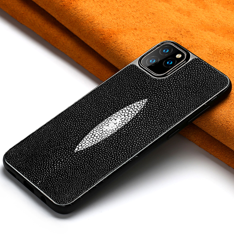 Luxury Genuine Stingray Leather 360 Full protective phone case For Apple iPhone 11 11 Pro Max X XS XS Max XR 7 8 6 6s 7 8 plus image