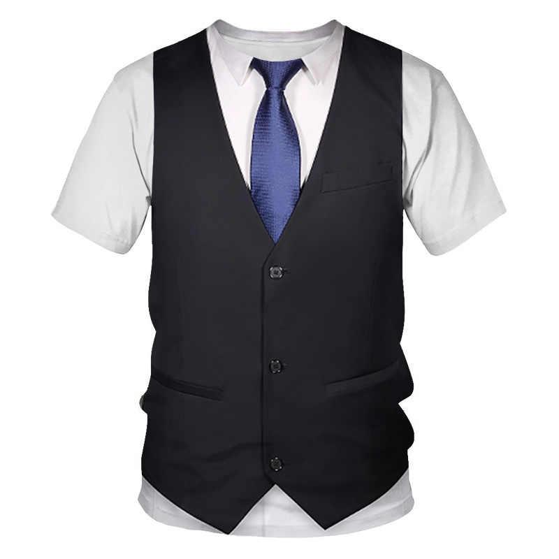 Schwarz 3D Gefälschte Anzug Print T Shirt Männer 2020 Marke Kurzarm T-shirt Männer Lustige Harajuku Slim Fit T Shirts hip Hop Streetwear Top