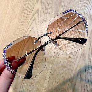 Image 5 - 럭셔리 무테 편광 선글라스 여성 스퀘어 크리스탈 선글라스 남성 빈티지 Oculos Feminino Lentes Gafas De Sol