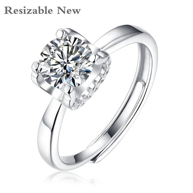 Moissanite Rings For Women D Color Resizable VVS1 with GRA Certificate 925 Sterling Silver Engagement Ring For Woman Jewelry