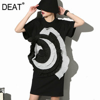 DEAT 2018 Fashion New level Stereo Large Flowers round Neck Short sleeved Black Dress Female Woman Big Size SM12731