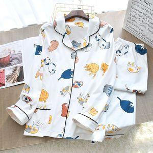 Image 4 - Ensemble pyjama à col rabattu pour femme, collection 2020, vêtements de maison femme, Style chat de dessin animé, frais, collection vêtements de nuit de Style, printemps décontracté