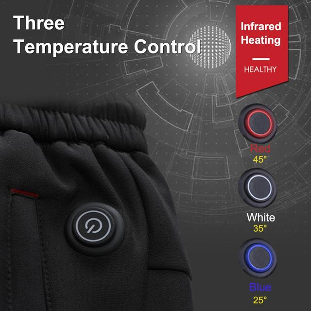 Intelligent Heated Warm Trousers Pants Carbon Fiber Heating Large Size Pants for Men and Women Winter Outdoor Cycling 3