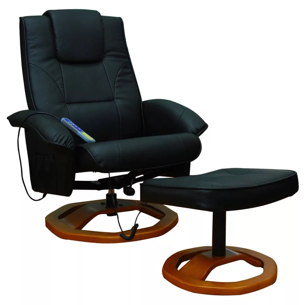VidaXL Massage Black Armchair With Footrest Home Computer Desk Chair Boss Office Chair PU Leather Adjustable Rotating Chair