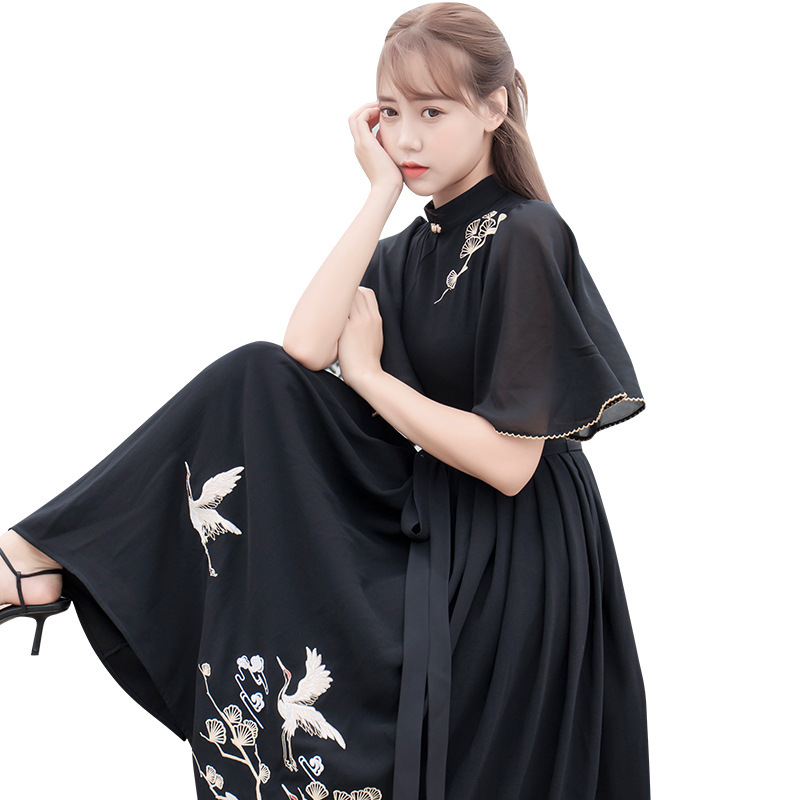 Black Hanfu Women Classical Dance Costume Reform Fairy Dress Embroidery Folk Festival Outfit Stage Performance Clothes DF1520