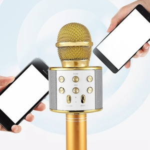 Image 1 - Wireless Karaoke Microphone Portable Bluetooth mini home KTV for Music Playing Singing Speaker Player PHONE PC Purple/Blue/Gold