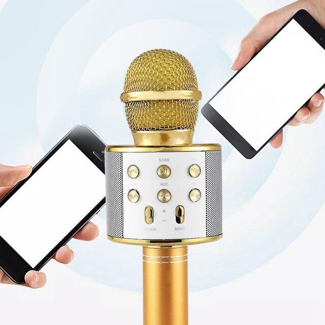 Wireless Karaoke Microphone Portable Bluetooth mini home KTV for Music Playing Singing Speaker Player PHONE PC Purple/Blue/Gold