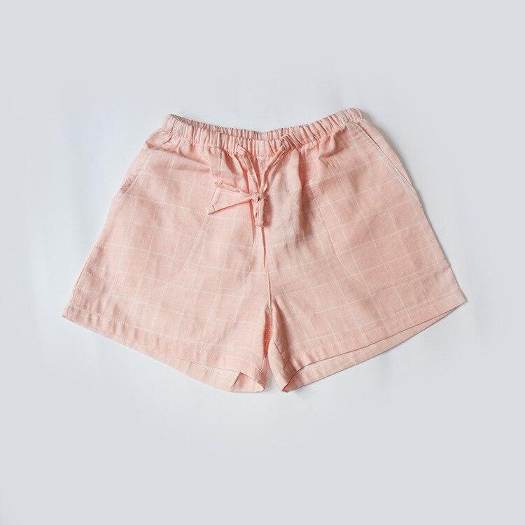 Летние женские Пижамные шорты, хлопковые газовые пижамы, штаны с принтом, штаны для сна, одежда для сна, женская одежда для сна - Цвет: Plaid pink