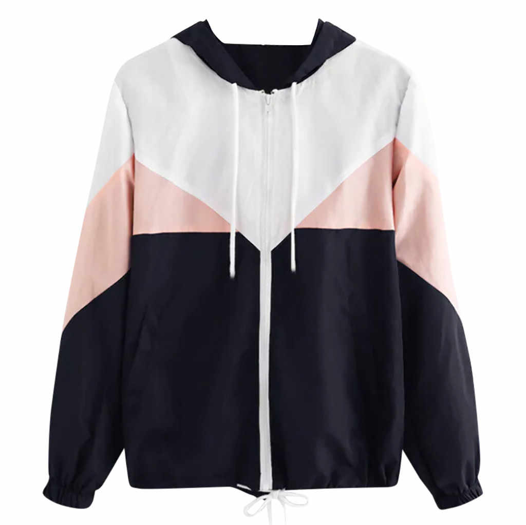 Coat Women Autumn Long Sleeve Patchwork Hooded Top Blouse Coats and Jackets Women Windbreaker Clothes chaqueta mujer #B