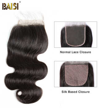 BAISI Hair Brazilian Body Wave Lace Closure 4x4 Remy Hair Closure Free Part Middle Part Free Part - Category 🛒 Hair Extensions & Wigs