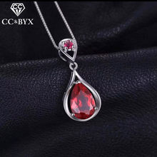 Luxury Water Drop Red Stone Necklace For Women Beautiful Jewelry Pendents Necklace for Wedding Party N005(China)