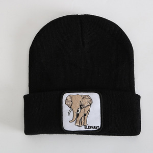 1 шт., новинка 2020 года, модная зимняя вязаная шапка с вышивкой в виде слона, тигра, волка, животных, вязаная шапка в стиле хип-хоп, шерстяная шап...