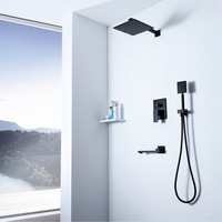 Modern Square Rainfall Shower Head Faucet Ultra thin 304 Stainless Steel Shower Faucets Hot Cold Control With Water Spout