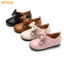 VFOCHI 2019 Girls Leather Shoes for Kids Low Heeled Girls We