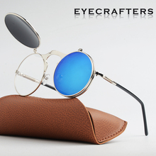 2019  New Fashion Flip Up Lens Steampunk Vintage Retro Style Round Sunglasses Spring Legs Clamshell Double Eyewaer