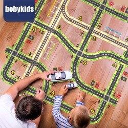 Разноцветные наклейки на дорожную ленту, детские игрушки, дорожное шоссе, железная дорога, декоративные наклейки, развивающие игрушки для д...