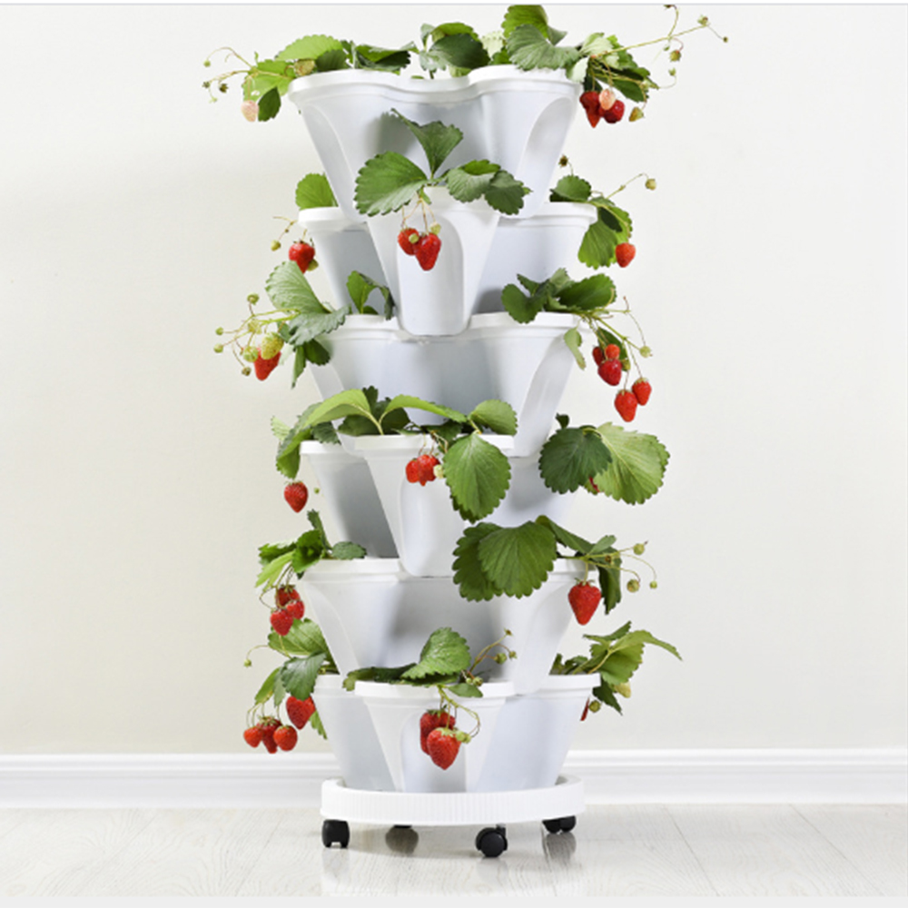 Stack-up Type Stereoscopic Flowerpot Strawberry Plant Pot for Flower Vegetables Decoration Garden Planter Pot with Tray Apr20 1